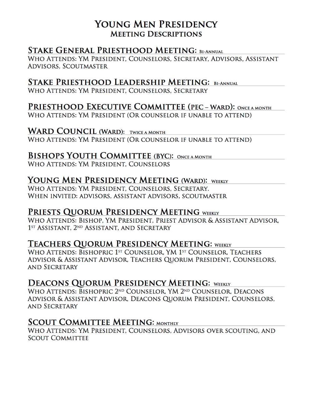 Ldstoolz young men list of meetings to attend fandeluxe Image collections