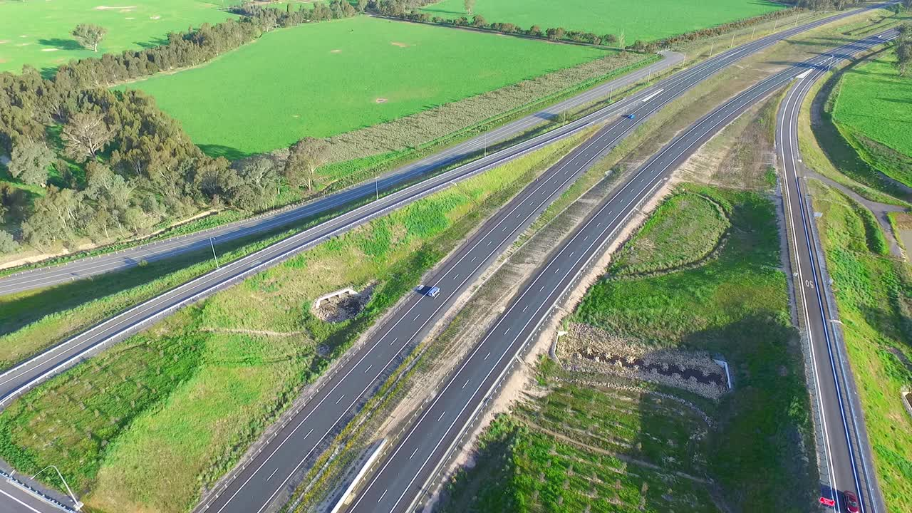 Hume Highway Interchange Exit Stock Aerial Footage   Australian Roads Stock  Video - Hypervision
