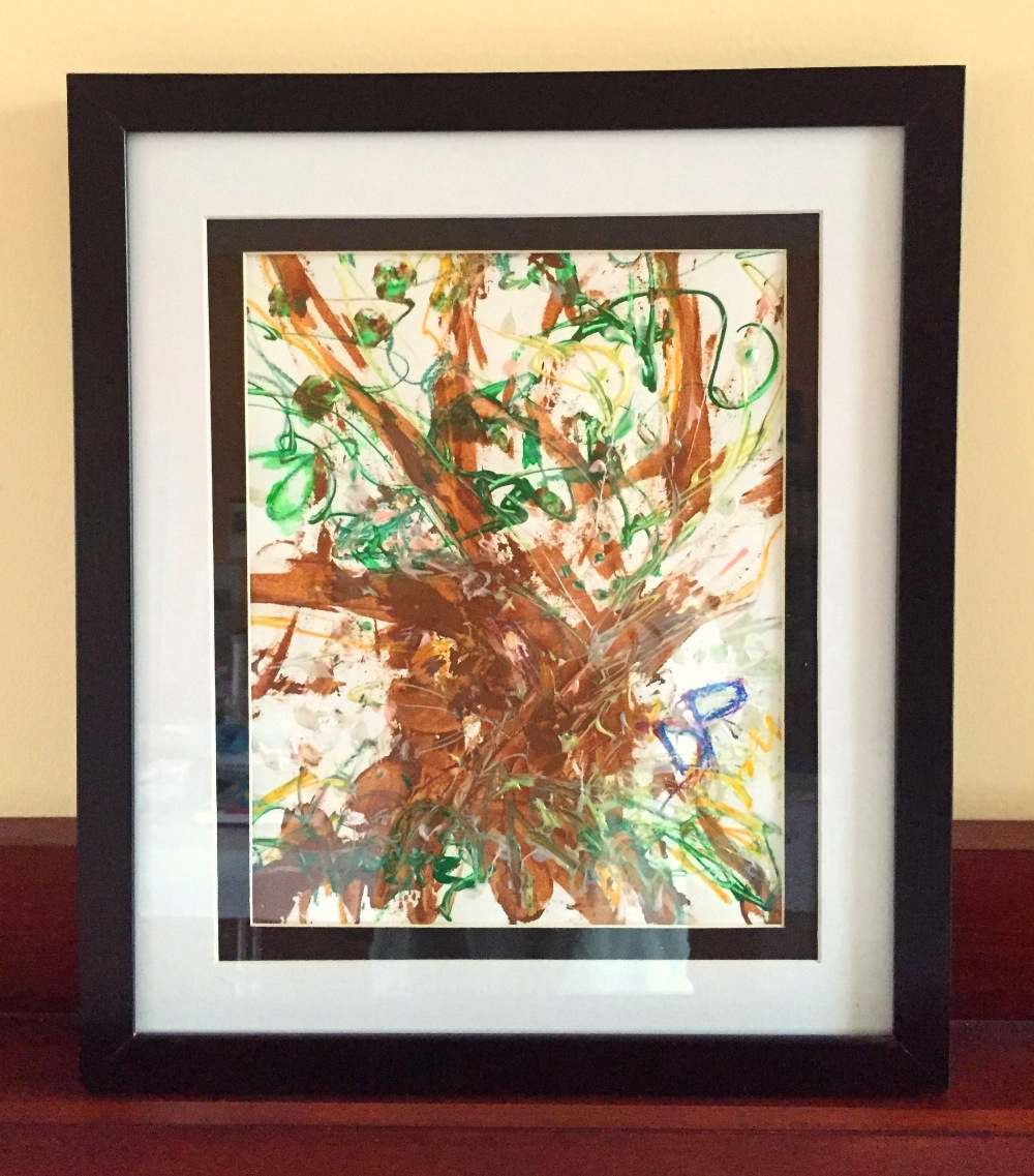 Framed Banyan Tree II Mixed Media Drawing