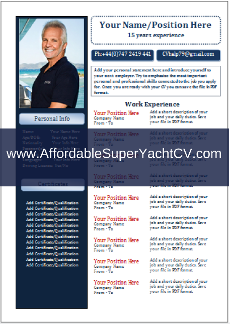 free yachting cv template